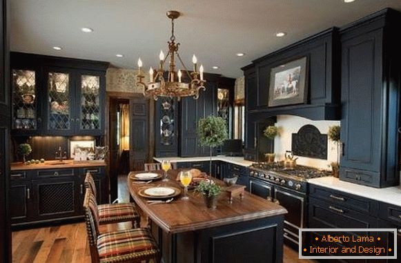 Kitchen design in black and dark colors