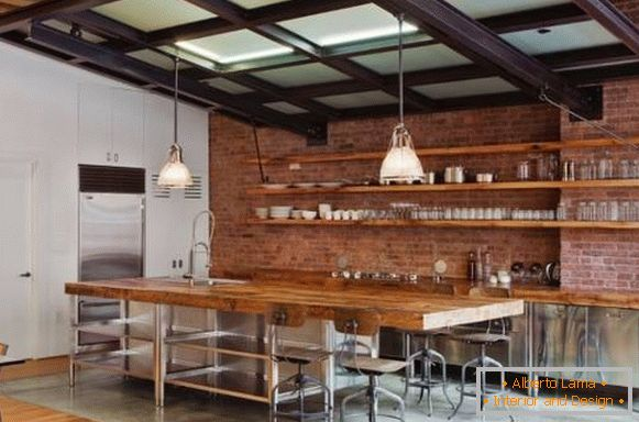 Fashionable loft-style kitchen with open shelves