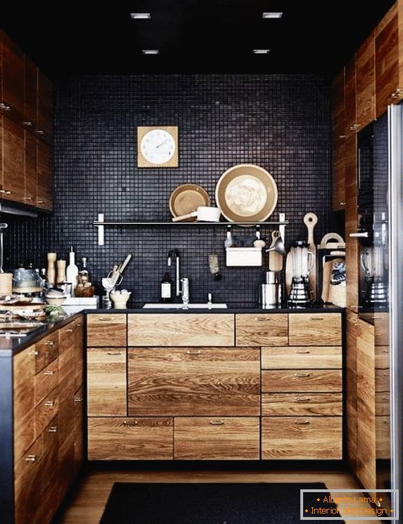 Small kitchen in black color