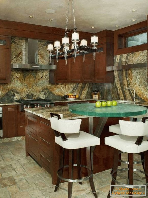 Luxurious kitchen with stone decoration 2015