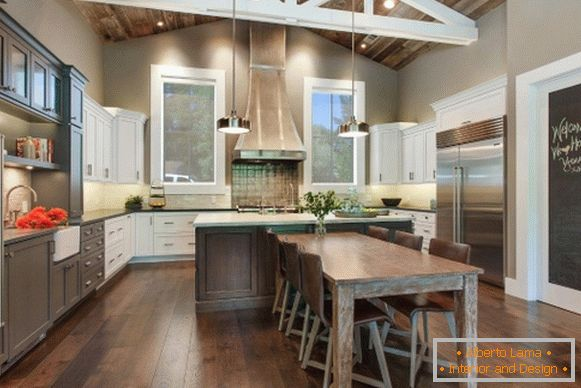 Fashionable gray color in kitchen design