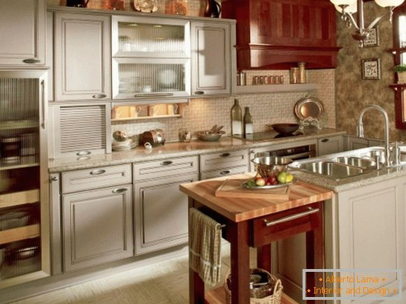 Kitchen in gray and shaker style