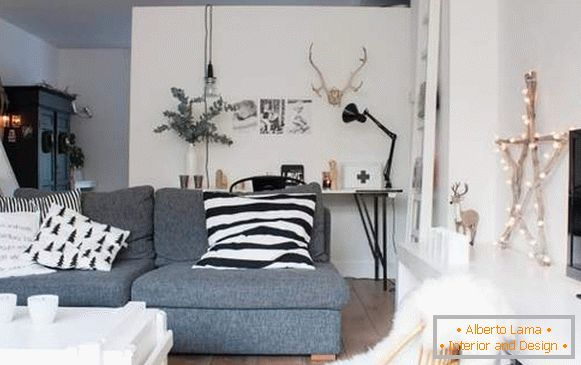 New Year's interior of the apartment in Scandinavian style