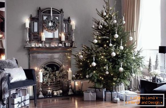 New Year's interior design with white ornaments