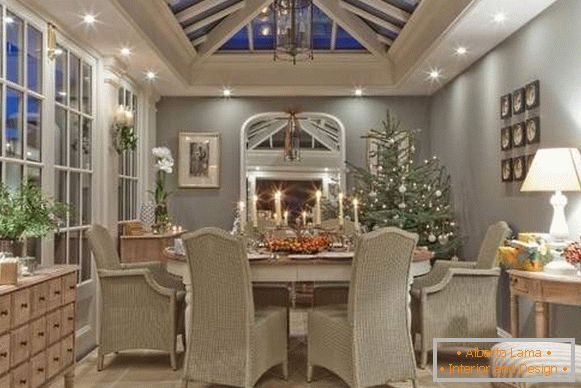 Gray-beige New Year's interior - photo with a fir-tree
