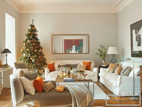 New Year's interior apartments - photos in orange and green