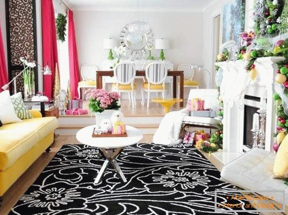 New Year's interior decoration in pink and yellow