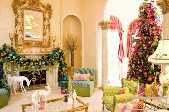 Beautiful New Year's interior in pink, blue and light green