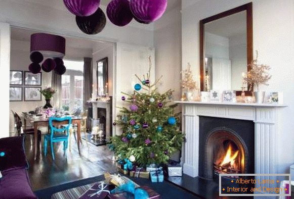 Blue and purple decor for the New Year