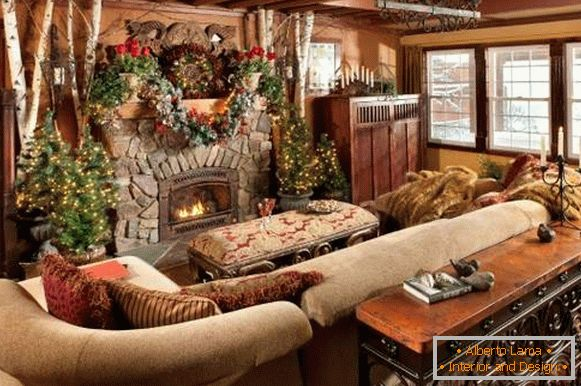 New Year's interior design 2017 in the style of the country