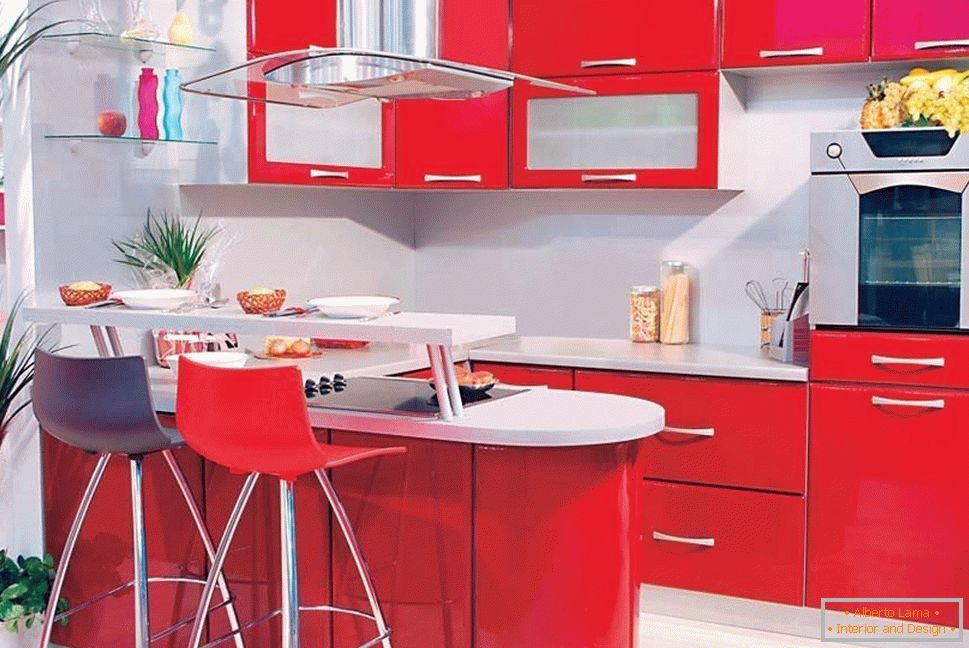 Red furniture in the kitchen