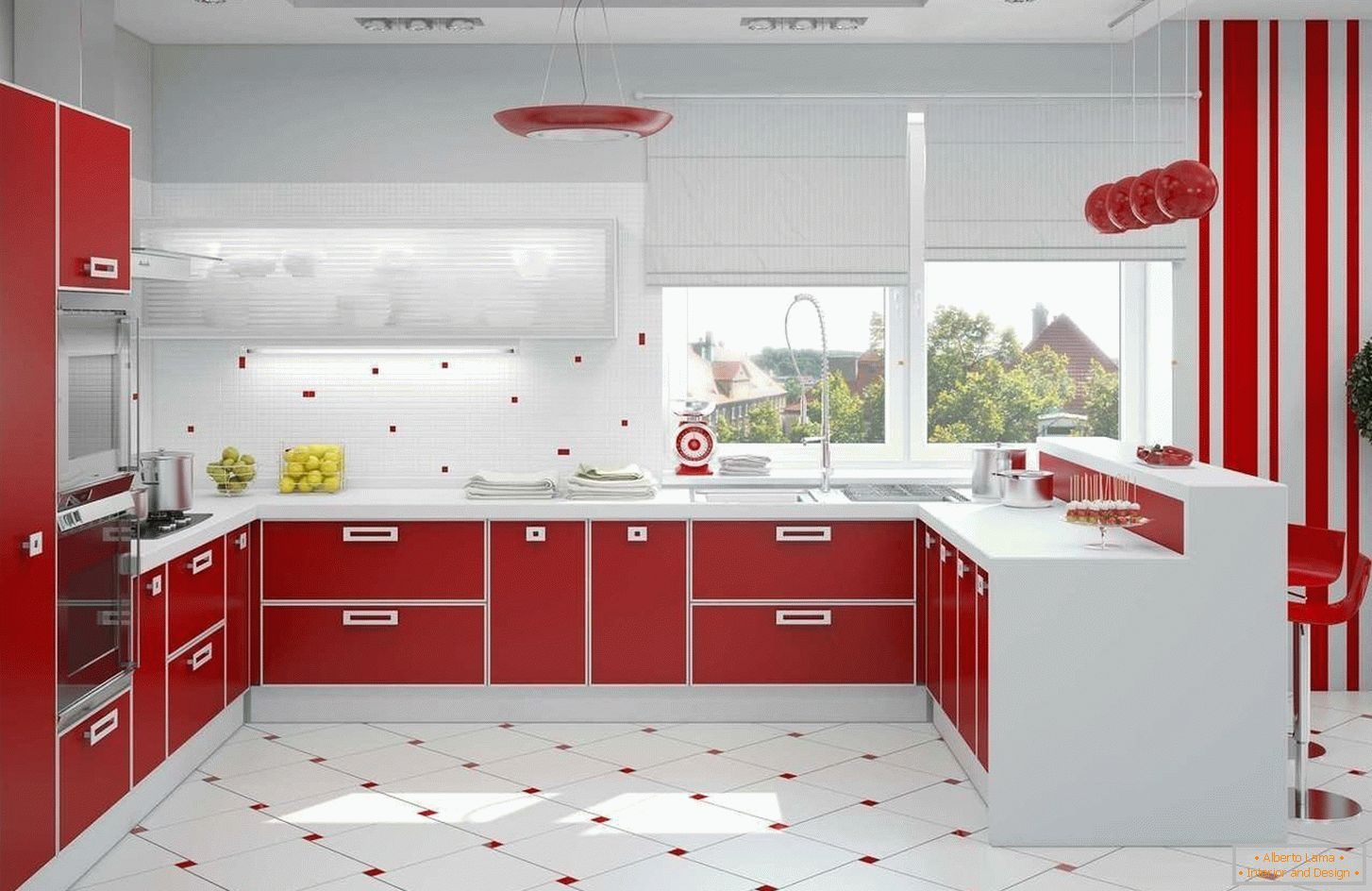 Red and white kitchen interior