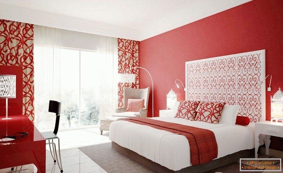 White furniture in a bedroom with red walls