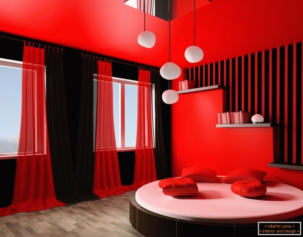 Red-black interior of the room