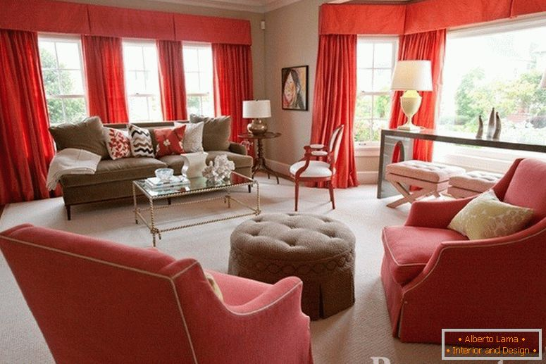 Red curtains in the living room