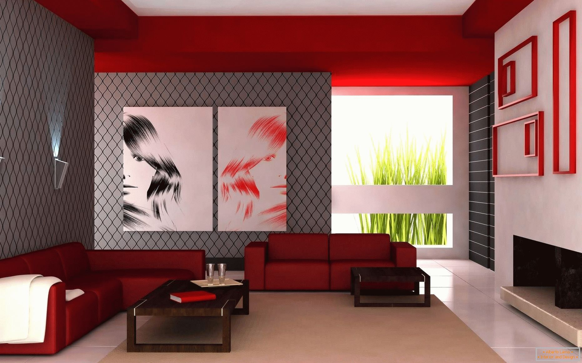 The combination of white, red and gray colors in the living room