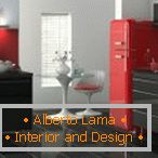 Red refrigerator and gray furniture in the kitchen