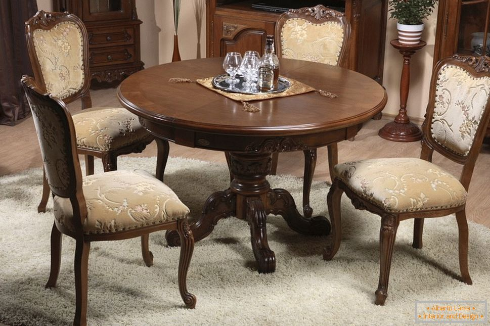 Round table in the living room