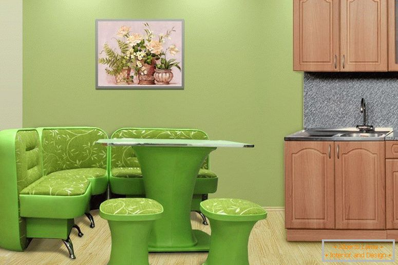Light green table in the kitchen