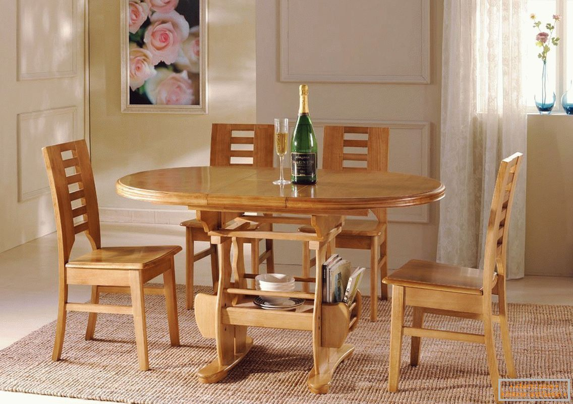 Wooden furniture in the dining room