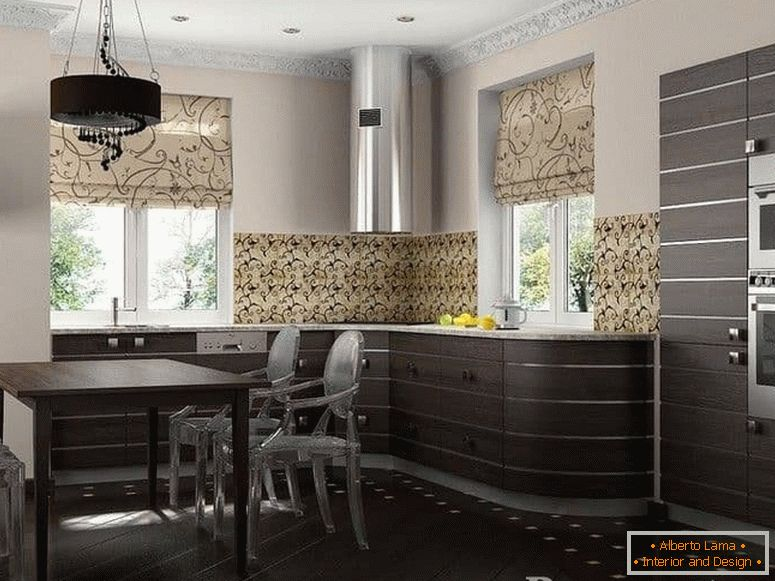 The combination of the facades of the Wenge kitchen with a light interior