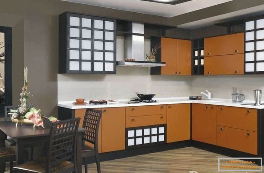 Kitchen wenge in combination with orange