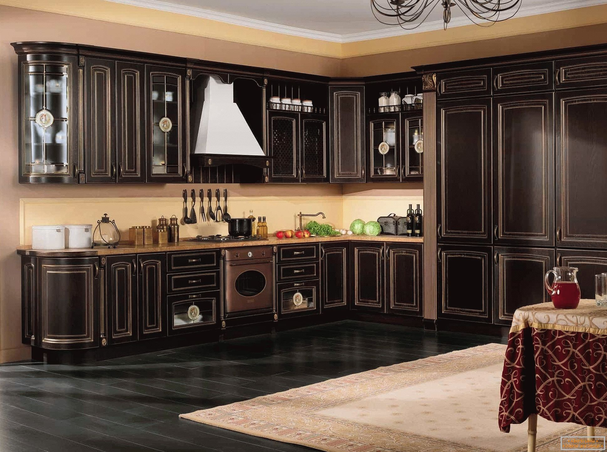 Large classical kitchen in wenge color