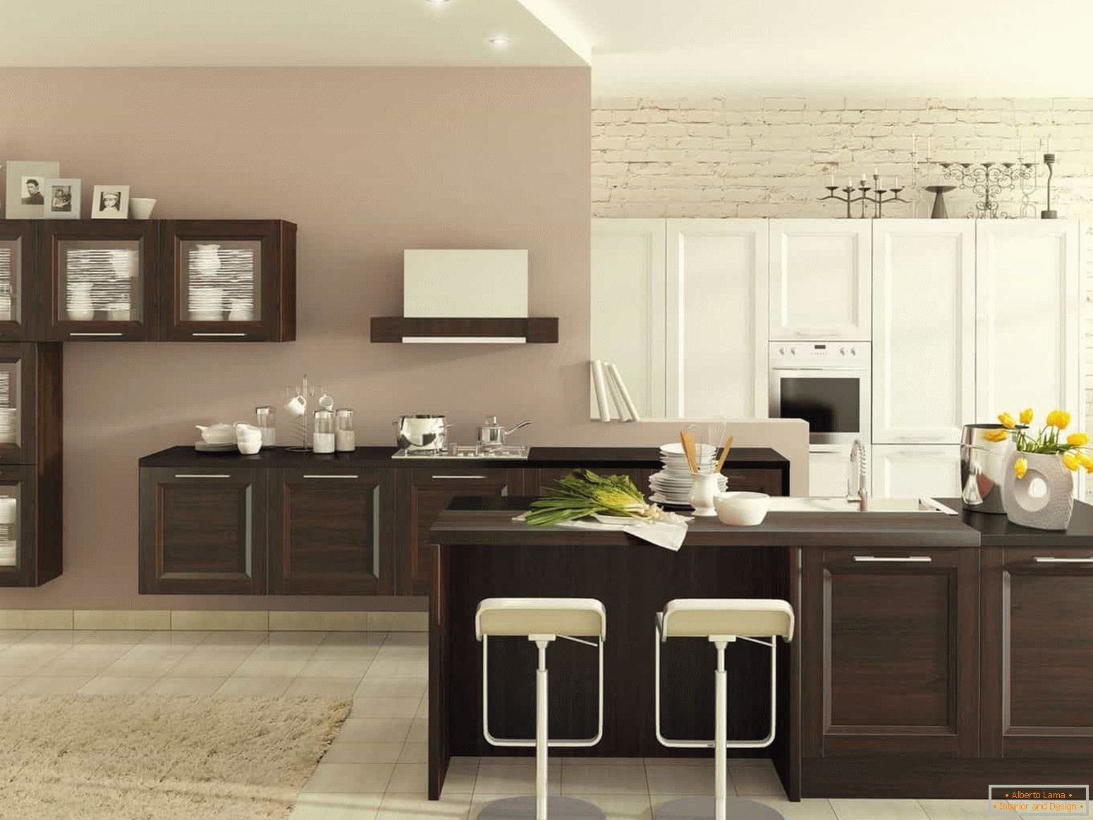 Light kitchen in combination wenge and white