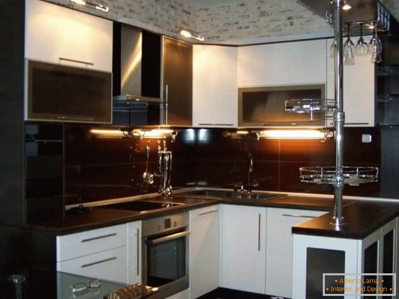 Kitchen with lighting and a combination of two colors-Wenge and white