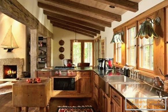 Kitchen in country style with wooden furniture