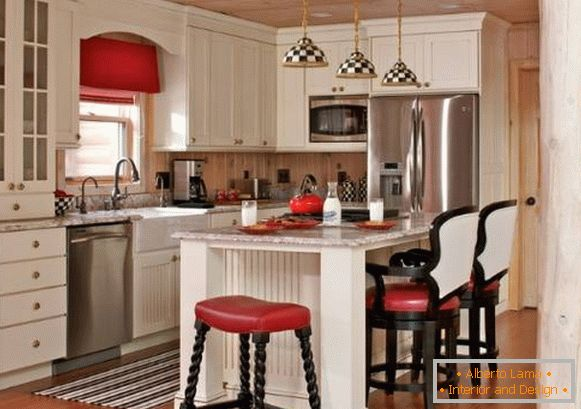 Bright kitchen interior in country style - photos in black and white and red colors