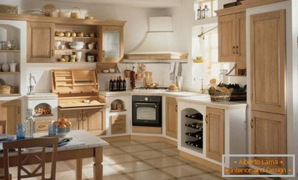Kitchen in rustic style with white and wooden facades