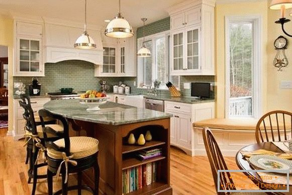 Yellow-green kitchen in a rustic style - photo in a private house