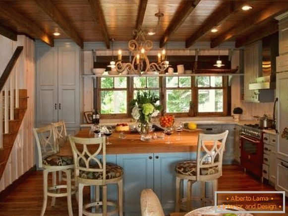 Wooden kitchen in blue country style