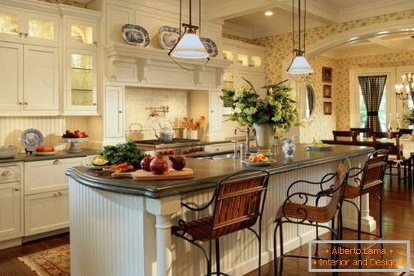 White kitchen living room in the style of country - classic design