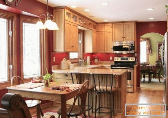 Kitchen decoration in country style - photo with dining area