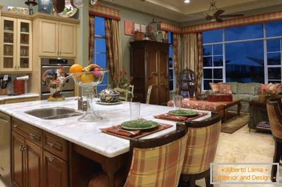 Classic kitchen design in country style - photo from living room