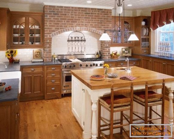 Rustic country kitchen with brick wall