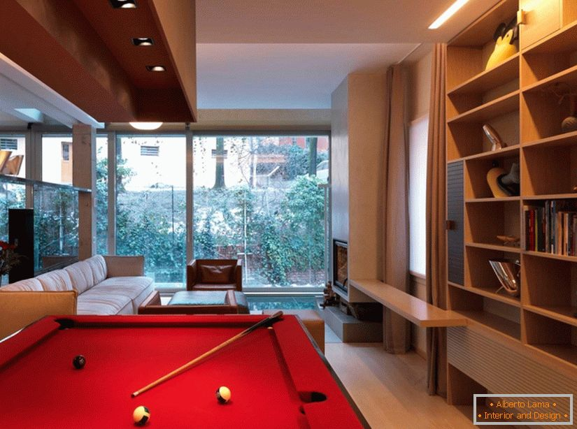 Interior design of the living room with a billiard table