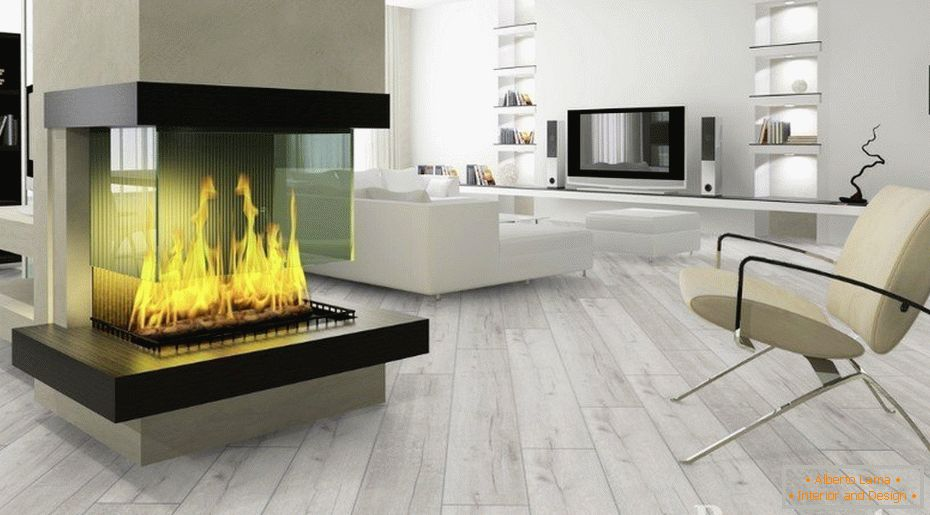 Laminate in the hall with a fireplace