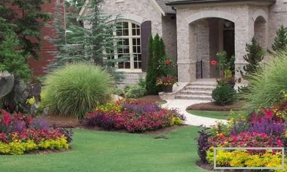 Landscape design of the yard photo with own hands - flower beds and lawn