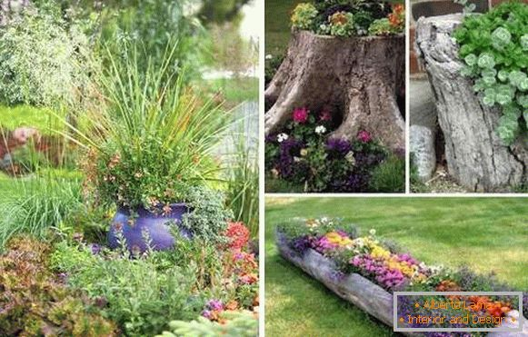 Landscape design of a private house - containers for flowers by own hands