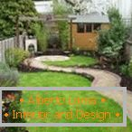 Plants and lawn grass in landscape design