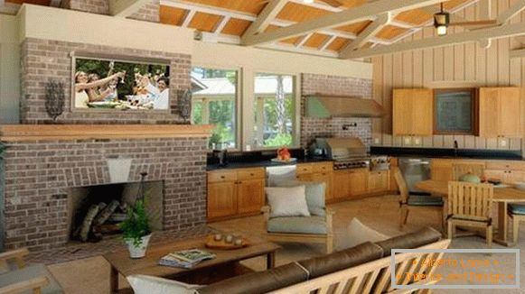 Decorative decorations in a summer kitchen with a veranda, photo 5