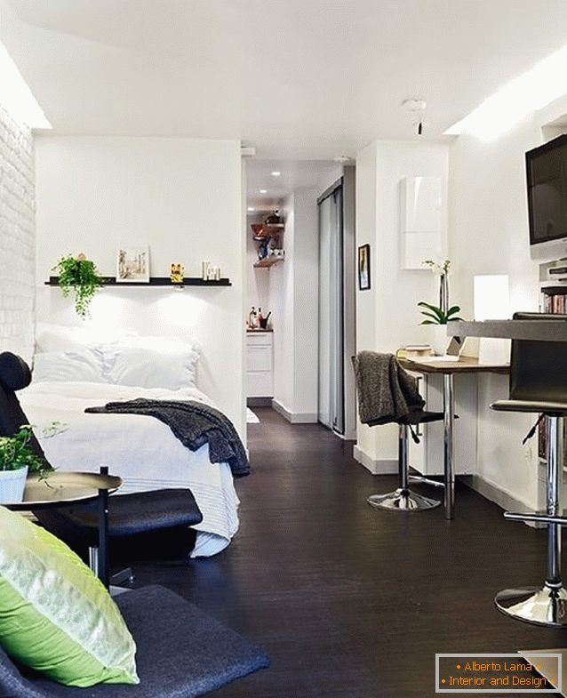 Interior of studio apartment in Switzerland