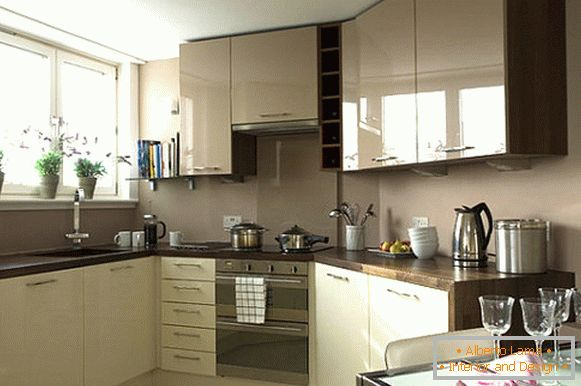 Small kitchen with glossy cupboards