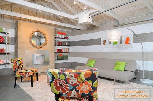 Bright accents in the bright living room