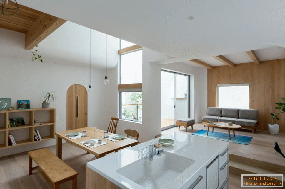 Open plan in the interior of a small house