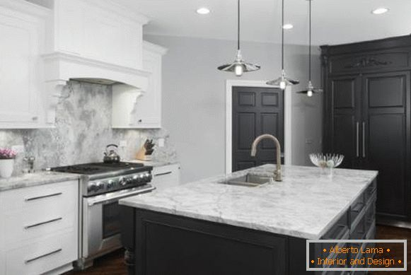Dark color of doors and floors in the interior - photos of the kitchen