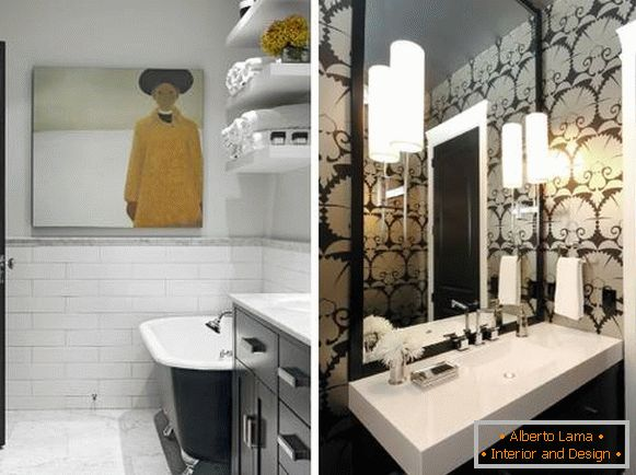 Black doors in the interior - photos of a black and white bathroom